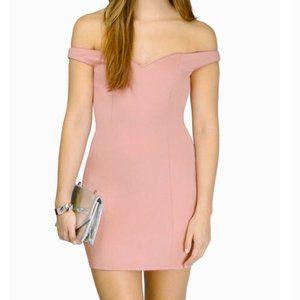 Tobi Off the Shoulder Mini Dress Pink Size M